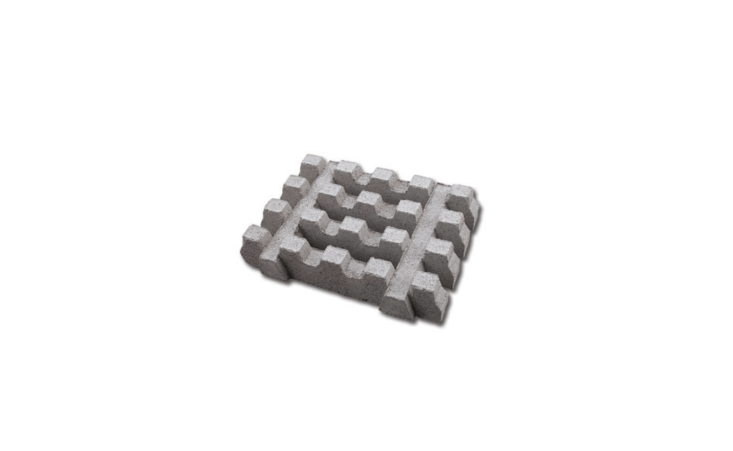 Interlocking Turf Block concrete pavers measuring \23.5 by \17.5 inches have soil chambers for planting. For more information and pricing, see San Diego–based RCP Block & Brick.