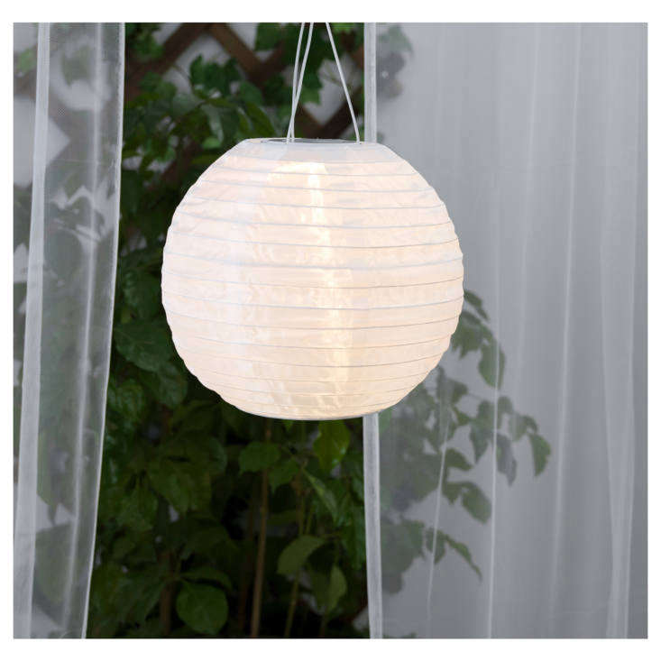 A cordless Solvinden Solar-Powered Globe Pendant Lamp has a rechargeable battery (AAA, loading=