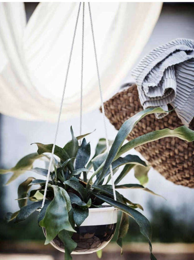 A dark gray stonewareSommar Hanging Planter with a cotton hanging cord is $loading=