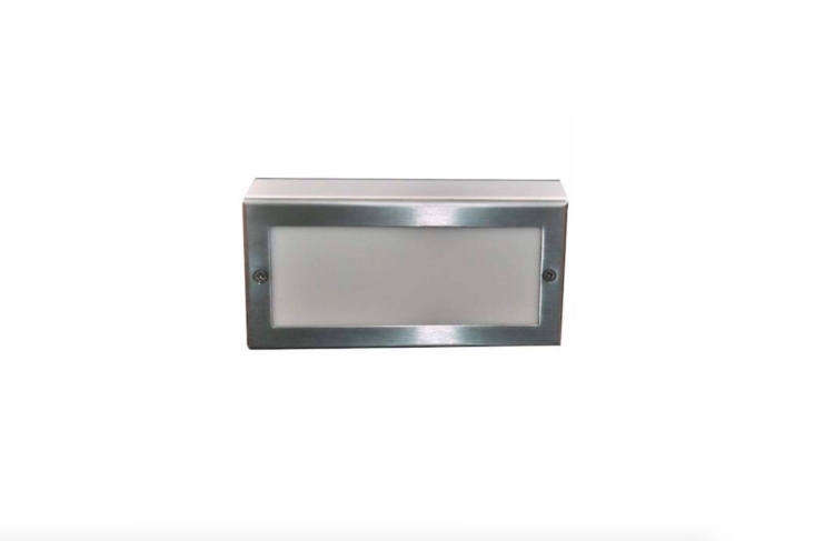 The size of a standard brick, an LED Paver Light made by Focus Industries measures four by eight inches and has aheavy-duty aluminum frame surrounding an acrylic lens. It is suitable for use on a driveway and is \$98.\10 at Take 3 Lighting.