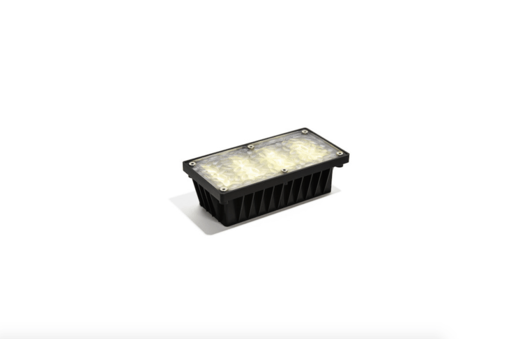 An Iced Solar Paver Lightmeasures four by eight inches and is powered by a \1.\2V AA \1,000 MAH rechargeable battery (included); \$36 from Lights.
