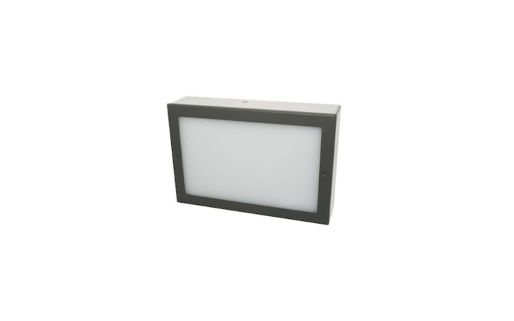 A six-by-nine-inch LED Paver Light is water-resistant and rated for commercial vehicle loads. It comes in charcoal (shown) and bronze finishes, and is \$75.99 from Nox Lighting.