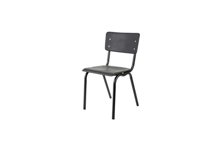 Designed by Luc Vincent for Serax, the Vinyl-Vinyl Chair, shown in black, is made of powder-coated metal and vinyl (good for outdoors). It&#8