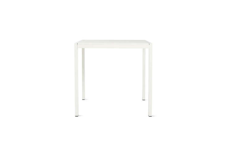The Eos Square Outdoor Table designed by Matthew Hilton for Case is similar to the simple white side table in the garden; $495 at Design Within Reach.