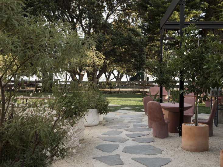 A view of the courtyard leading out to the beach. To the right, by the blackened steel pergola,are potted citrus trees in terracotta planters.