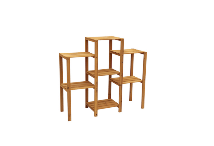 A multi-tier plant stand to display up to seven plants, aNatural Outdoor Rectangular Wood Plant Stand is $79.38 from Lowe&#8