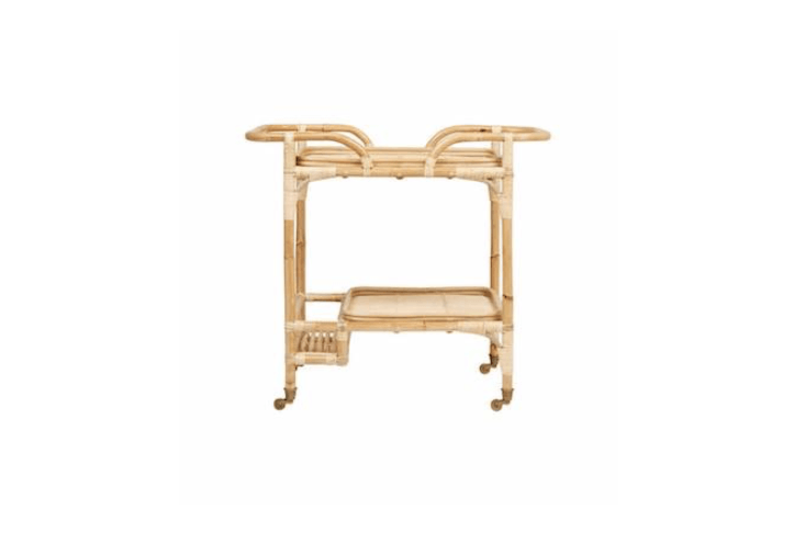 The vintage-styleRattan Bar Cart available in three colors—black, white, and natural (as shown)—is \$3\1\1 from Fenton & Fenton.