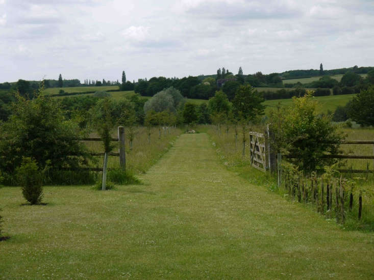 Mown grass, the main path in Charlie Hart&#8\2\17;s garden, is bordered by split rail fence and wildflowers.