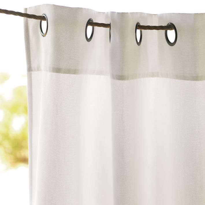 An 84-inch-long Outdoor Solid Curtain in natural is $99 from West Elm.