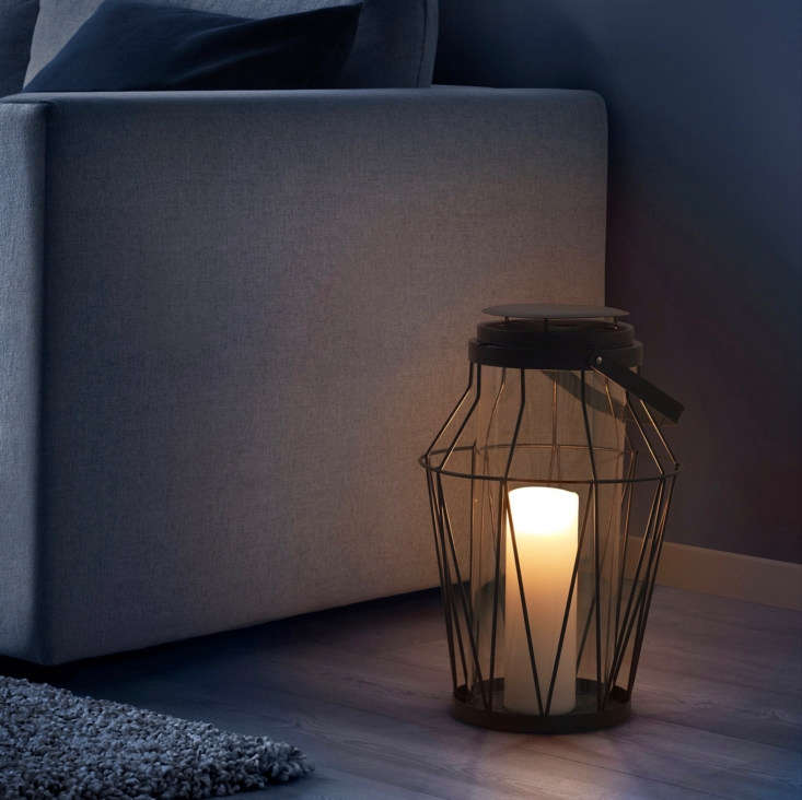 Suitable for both indoor and outdoor use, a steel and glass Sommar Candle Lantern is $.99.