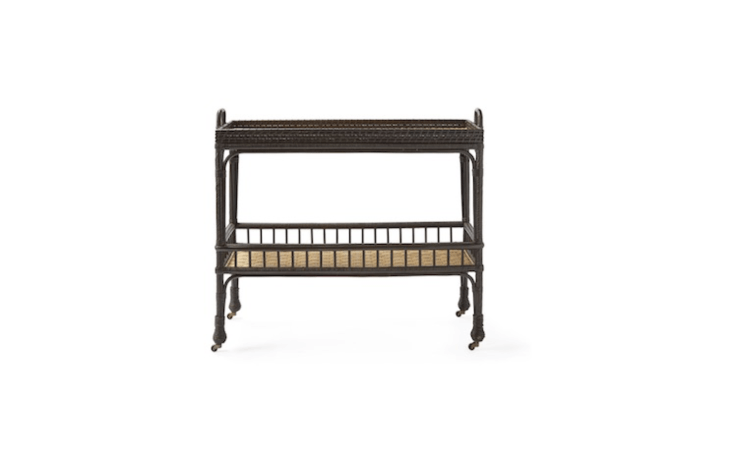 ASouth Seas Bar Cart available in black (shown) and natural measures 40 by \15 inches; \$598 at Serena & Lily.