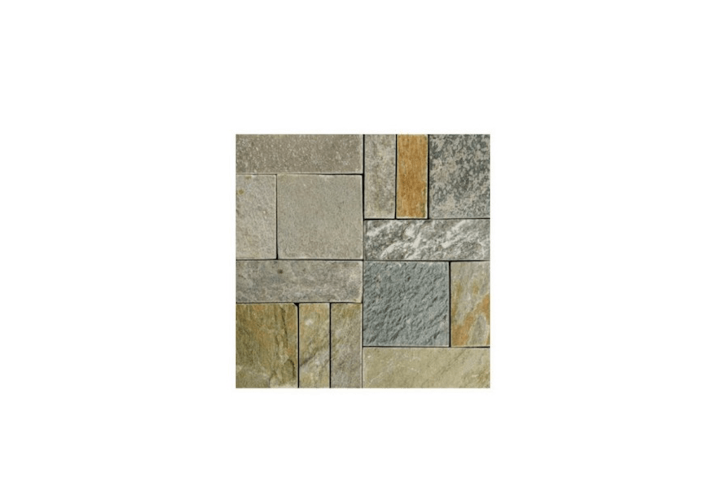 A box of five snap-together Stone Patio Tilesisavailable in natural (shown) and black slate. Each tile measures src=