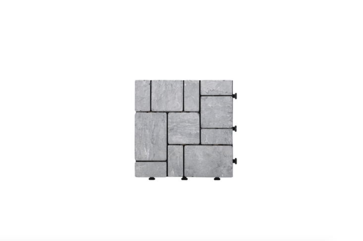 Natural stone Kontiki Interlocking Deck Tiles are gray and measure one square foot; $6.09 to $6. per square foot, depending on quantity, at Build Direct.