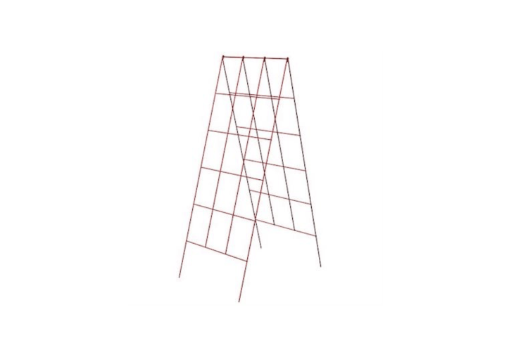 AFold Out A-Frame Vegetable Support is \18 inches wide (suitable for use in a four-by-four-foot raised garden bed) and is made from galvanized steel. It is \$8.99 from Gardener&#8\2\17;s Edge.
