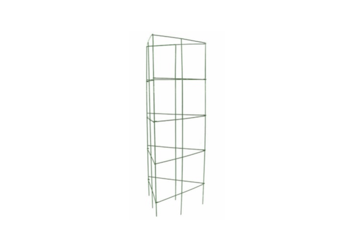 A 47-inch triangularTomato Cage made of vinyl-coated steel folds flat for storage; \$6.48 at Lowe&#8\2\17;s.