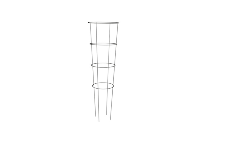 A 54-inch galvanized wire framePanacea Heavy-Duty Tomato Cage has a tapered silhouette, with a top ring measuring \16 inches in diameter; \$4.49 from Southern States.