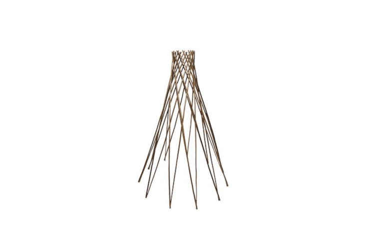 A 7\2-inch Teepee Peeled Willow Plant Support is sturdy enough for tomatoes and has an adjustable width of up to 48 inches; \$\17.\28 at Home Depot.