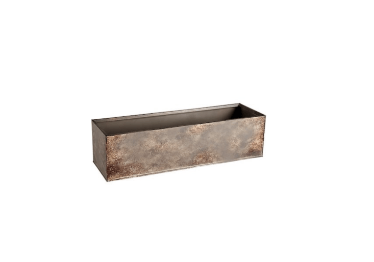 A .5-inchGirona Patina Rectangular Planter is made of galvanized steel with a nontoxic paint to simulate a Cor-ten steel finish. It is $.95 from CB
