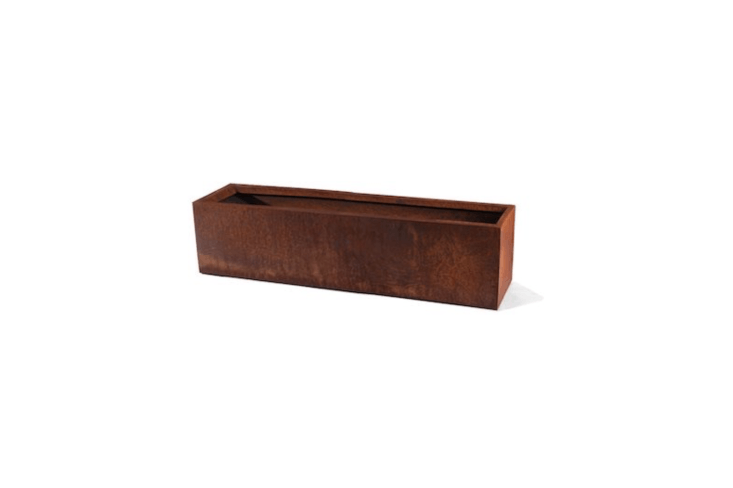 A Cor-ten Steel Window Box Planter comes in two lengths (36 and 48 inches) at prices from \$\134.99 to \$\164.99 at Veradek.