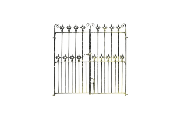 A pair of Victorian Pair Of Reclaimed th Century Wrought Iron Gates from England measure 5