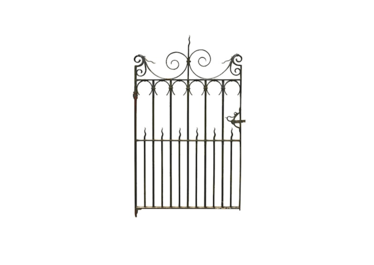 Circa 00, an Antique Wrought Iron Pedestrian Gate comes with two matching posts, hinges, and a working latch. It measures 6
