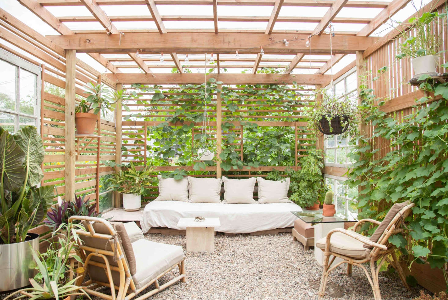 Andrew Tatreau of Omaha, Nebraska, built a DIY cabana in his shadeless backyard to provide a respite from the sun for both people and plants; he won our  Best Amateur Landscape award for the project.