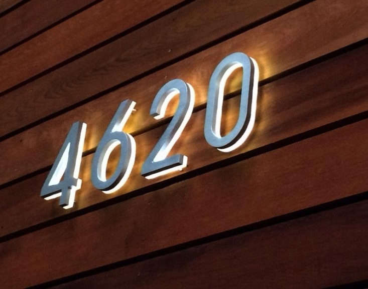 Backlit LED House Numbers from Luxello measure eight inches high and are available with white or blue LED lights; $6 to $loading=