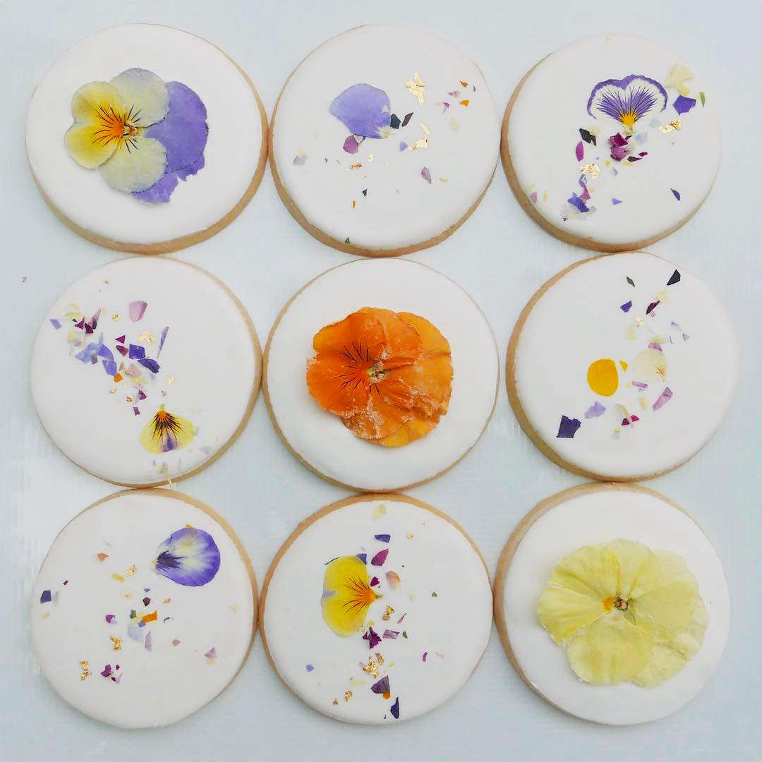 Pansy, viola, and rose confetti cookies.