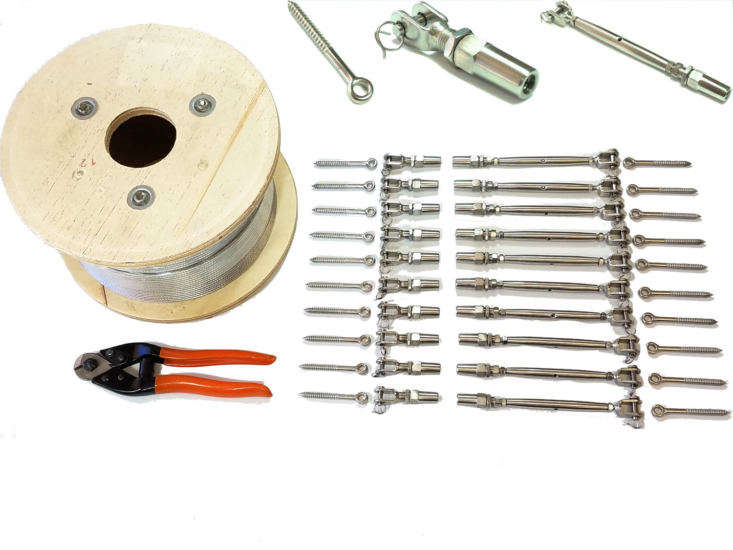 The components. A stainless steel Cable Railing Kit for wood posts includes 0 feet of polished stainless steel cable, a -pack of stainless steel tensioners, a -pack of stainless steel swageless fittings, a -pack of eye terminals with wood screws, and an eight-inch pair of cable cutters; $5 from Aress Corp. via Etsy.