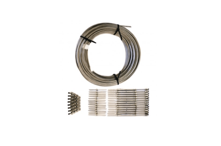 Madden Industries marine-grade Cable Railing Kit for use with wood or steel posts comes with 500 feet of eighth-inch cable,  hand swage threaded studs,  hand swage threaded studs with turnbuckles,  protective sleeves,  hex nuts,  acorn nuts, and  flat washers; $656. from Aluminum Handrail.