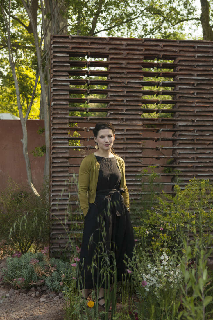 Sarah Price in her gold-medal-winning Mediterranean garden for M&G, Chelsea .