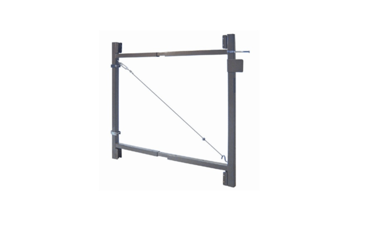 An adjustable metal frame, a Gate Hardware kit measures 36 inches by 7