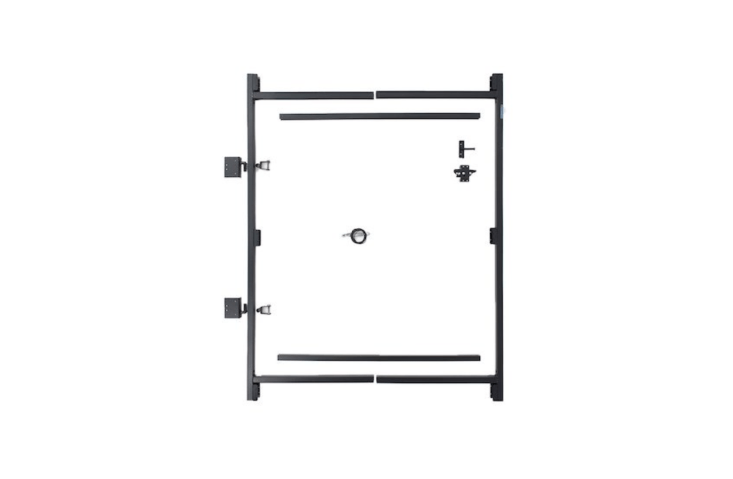 Designed by Adjust-a-Gate, a Steel Frame No Sag Gate Building Kit will fit wooden gates from 36 to 60 inches wide and up to 84 inches high. A kit includes a vertical frame, spreader bars, frame hinges, post hinges, two-way gate latch kit, diagonal truss cable, and screws; $80.6