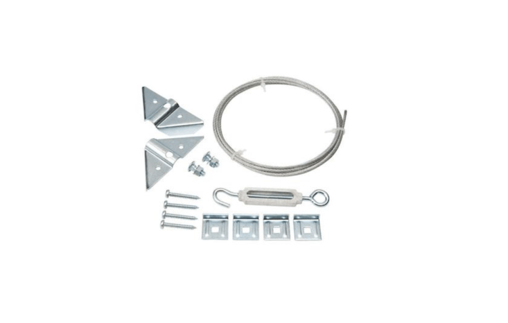 A zinc-plated Anti-Sag Gate Kit from Everbilt for gates up to six feet high and four feet wide includes two corner braces, two pairs of cable clamps, a hook-and-eye turnbuckle, one 90-inch stranded steel cable, and fasteners; $loading=