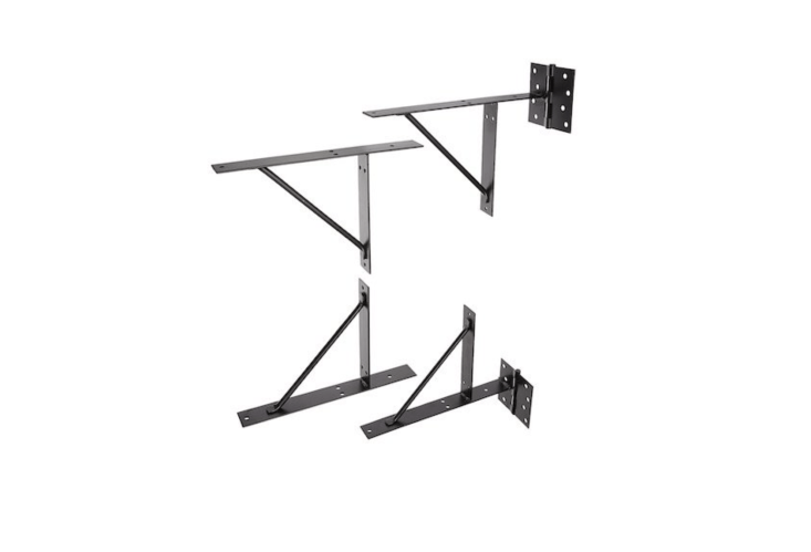 A four-bracket No-Sag EasyGate Bracket Kit from Homax is made of powder coated steel and comes with weather-resistant screws; $.97 from Amazon.