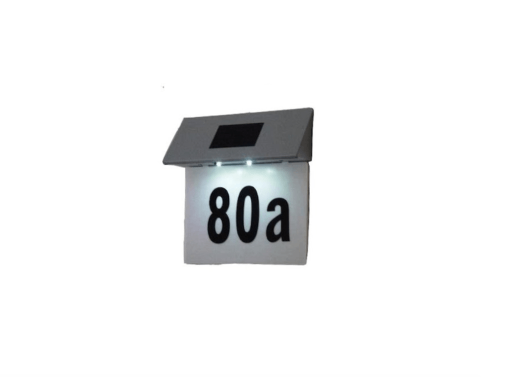 A solar-powered Illuminated House Door Number Plaque suitable for outdoor use has an automatic sensor that turns on in the dark; £3.99 via Amazon UK.