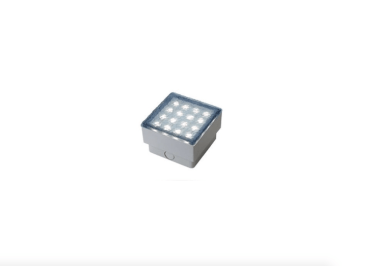 An Illuminated LED Paver designed to be inset in a concrete driveway or walkway is available in two shapes, rectangular and square (as shown). For more information and prices, see France-based Heinrich & Bock.