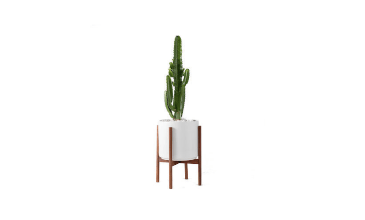 An Extra-Large Mid-Century Modern Planter and wood plant stand are sold separately or as a set. The plant stand is $85; with the loading=