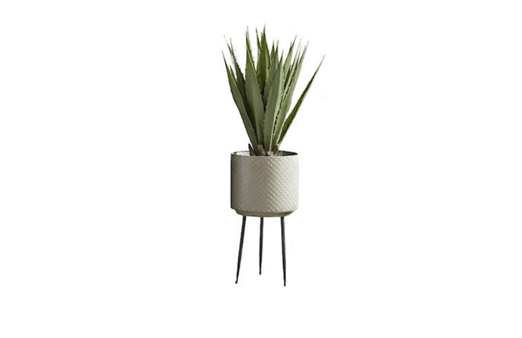 A midcentury modern cylinder Standing Textured Planter is brass with a verdigris whitewashed finish and has a diameter of about loading=