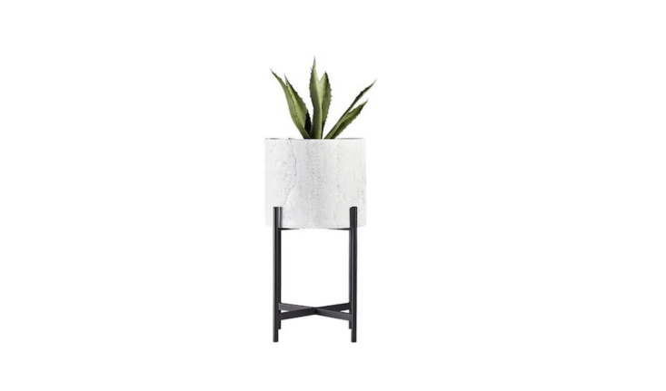 Made of resin with a silver washing effect, a white cylinder Fiore Planter with a black metal stand is .5 inches in diameter and .5 inches high; $9 at CB