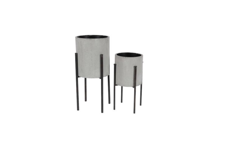 A two-piece light gray midcentury modern cylinder Iron Pot Planter Set with heights of .