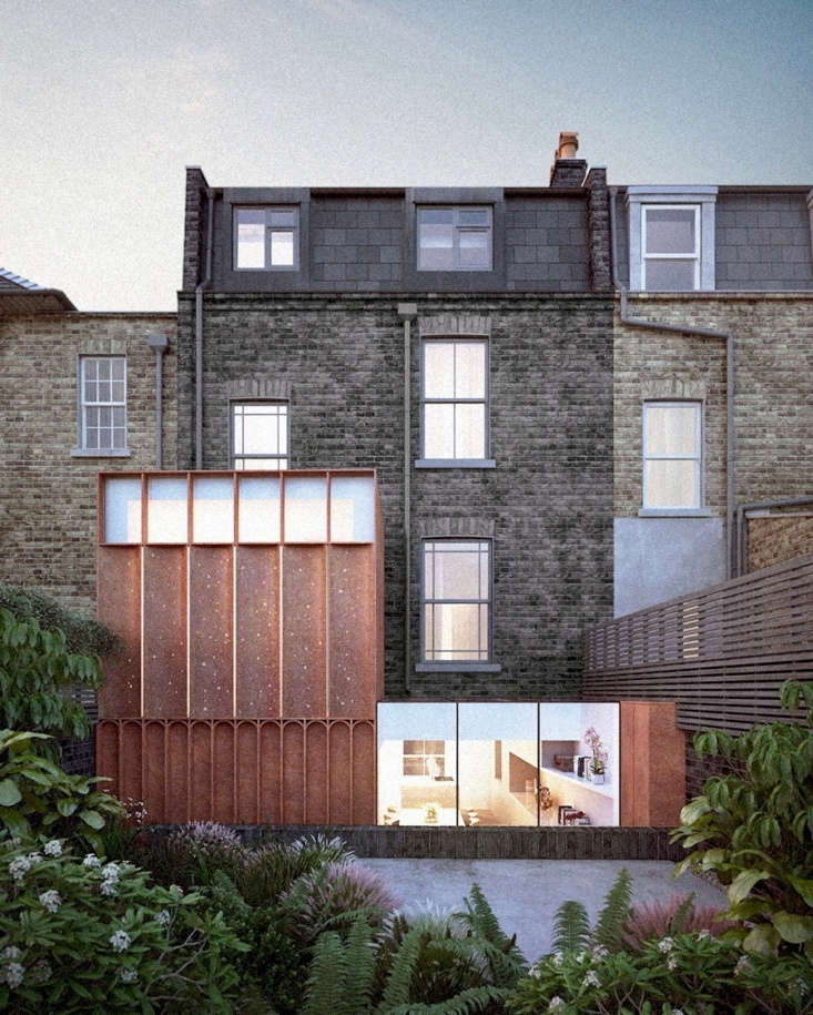 On a modern addition to an early Victorian terraced house, Architecture for London designed an &#8\2\20;intricate glass and Cor-ten steel screen, with varying degrees of transparency,&#8\2\2\1; to light the garden from indoors at night.