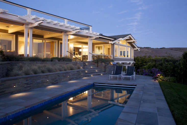 Inset on steps made of bluestone, stairway riser lights sit flush against the stone in a Tiburon, California, project by Gardenista Architect/Designer Directory member Pedersen Associates.