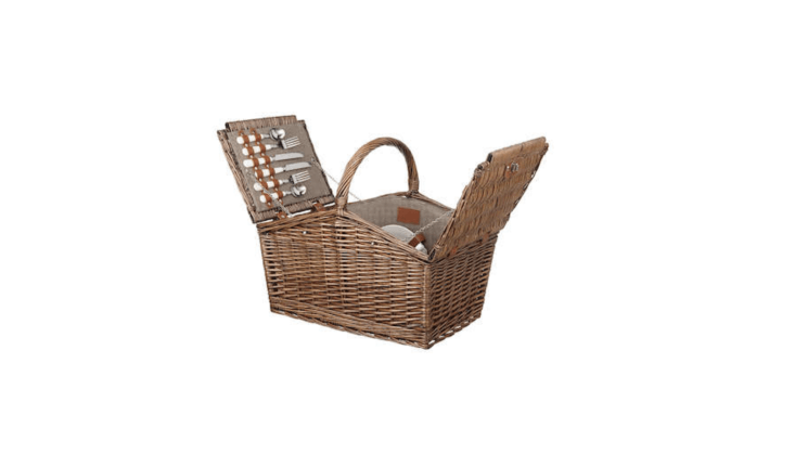 What is the &#8\2\20;filling&#8\2\2\1; in a Croft Collection Filled Picnic Hamper? The woven willow picnic basket comes four places settings—knives, forks, and dessert spoons—four glass tumblers and four napkins; \$\1\23.50 from John Lewis.