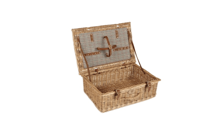 ASomerset Picnic Basket with &#8\2\20;light tan leather straps and buckles&#8\2\2\1; is designed to fit four place settings (including four plates with a 7.4-inch diameter). It is £\145 at Somerset Willow.