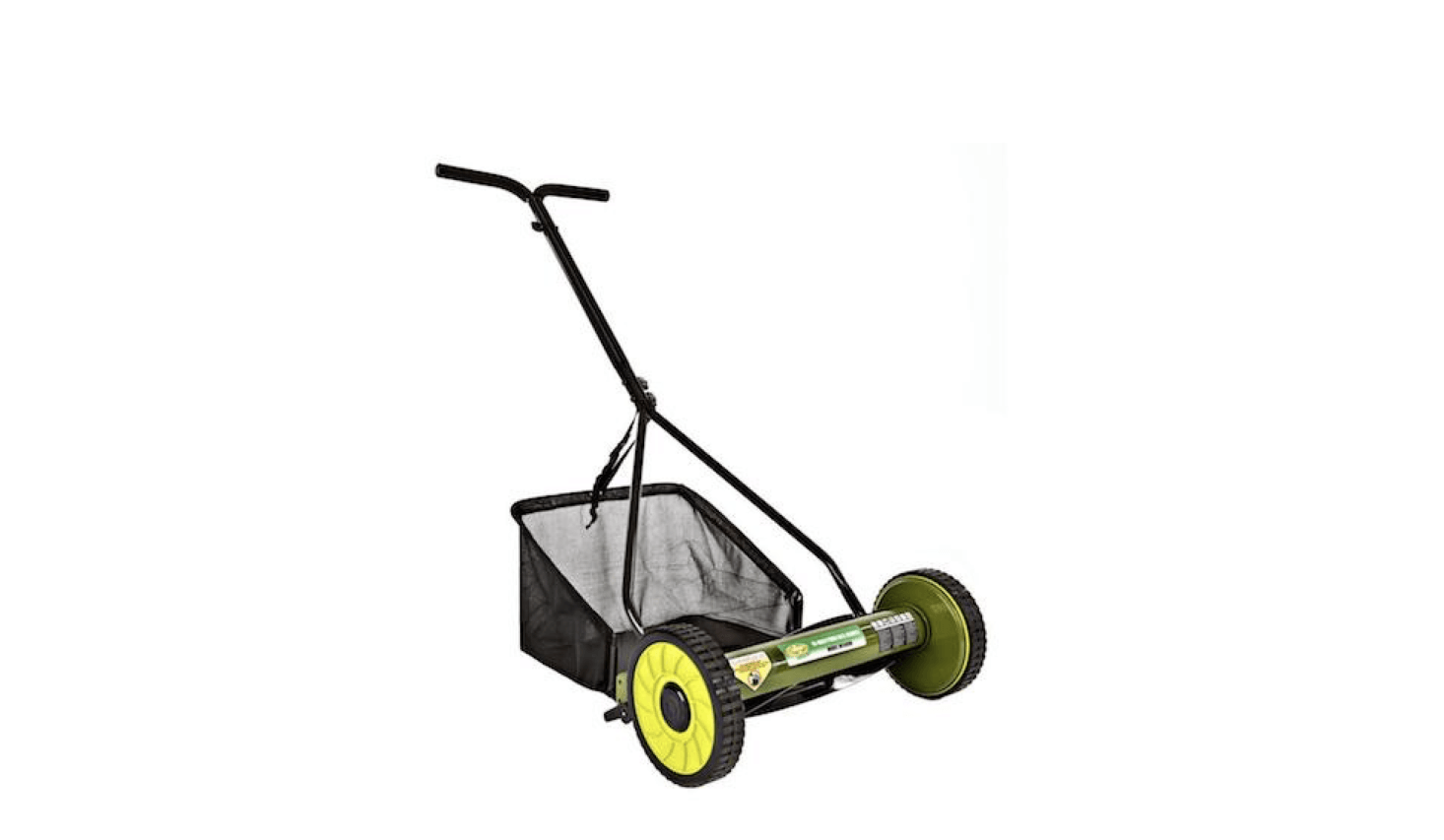 From Sun Joe, a Mow Joe Manual Push Walk Behind Reel Mower (with grass catcher included) is  inches wide; $74. at Home Depot.