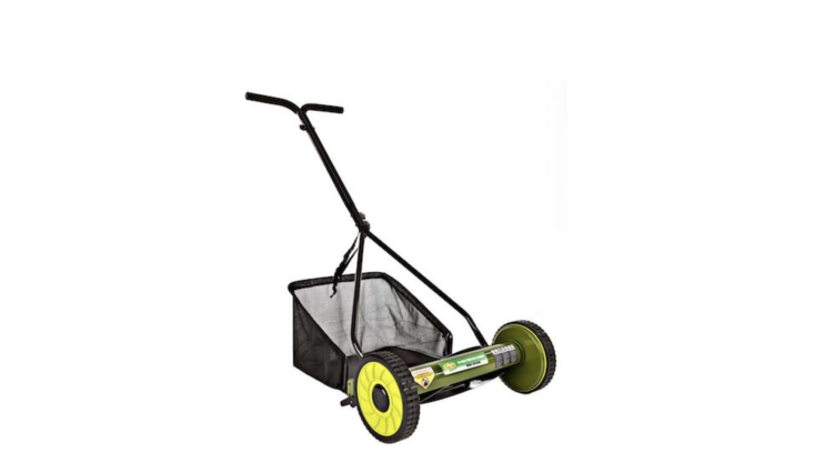 From Sun Joe, a Mow Joe Manual Push Walk Behind Reel Mower (with grass catcher included) is \16 inches wide; \$74.\25 at Home Depot.