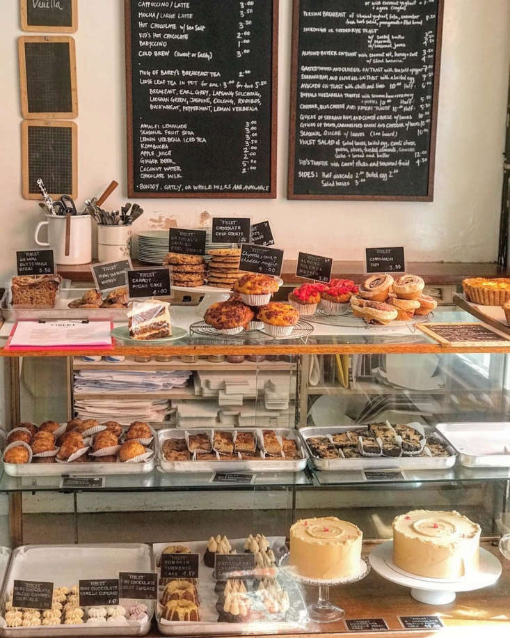 The bakery case at Violet Cakes in London&#8