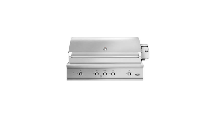 From Fisher & Paykel, a DCS Series 7 collection of built-in grills is available in 30-, 36-, or 48-inch widths. A 36-Inch Built-In Propane Gas Grill with Rotisserie delivers 75,000 BTUs and is $