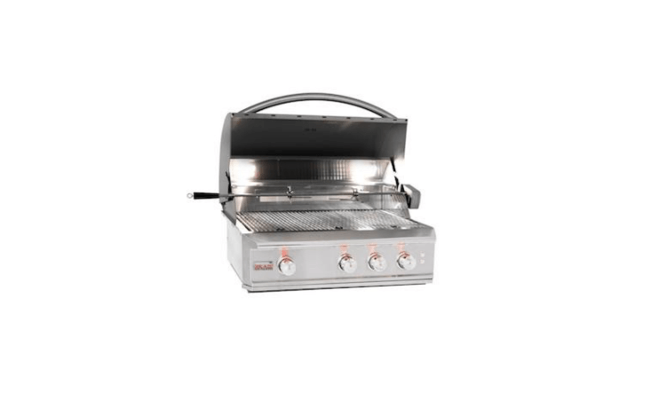 A 34-inch Built-In Natural Gas Grill With Rear Infrared Burner by Blaze Professional (54,000 BTUs) is powered by natural gas; $